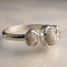 Three Stone Raw White Diamond Engagement Ring - Recycled Palladium Sterling. $399.00, via Etsy.