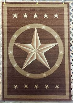 8X11, 6X8, 2X8, Or 3X4 Brown Texas Star Country Western Rustic Area Rugs