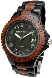 Tense Dark & Light Multicolored Mens Wood Sports Watch G4100DS ANDF Tense Wood Watches. $135.00. Becomes better with age as oils from body works with wood. Comes in Tense gift box with watch pillow and instructions for care. 2 year warranty from Tense. New generation of watch, RARE, and UNIQUE and expect compliments when worn. Super light weight, hypoallergenic, and is adjustable for great fit