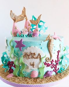 I must be a mermaid. I have no fear of depths and a great fear of shallow living. - Anaïs Nin LOVE the way that this mermaid themed birthday cake for a darling girl turned out! #cocoalanesweeterie #cake #mermaid