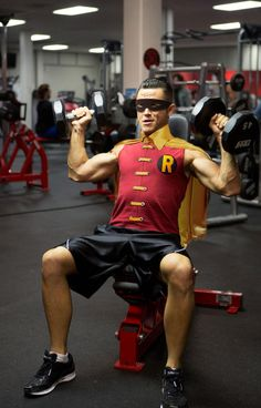 Robin... gotta say, I'm pressed. He actually went into a gym wearing that, hehe
