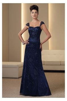 Brilliant Blue Long Gown in Beads Ornament