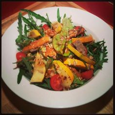 Herring and Courgette Salad with mixed leaves and seeds from Stephen Superfood Salad, Summer Salads, Competition, Seeds, Leaves, Chicken, Summer Salad, Cubs