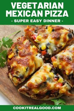 Vegetarian Mexican Pizza is a deliciously quick and easy dinner made from simple everyday ingredients. Make your own pizza crust or use store-bought, and load it up with corn, smashed black beans and red bell peppers. Vegetarian Mexican Recipes, Healthy Pizza Recipes, Vegetarian Pizza, Healthy Eats, Healthy Foods, Vegan Recipes, Quesadillas, Burritos, Enchiladas