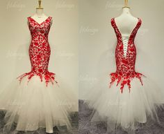 lace prom dress long prom dress red lace prom dress by fitdesign, $189.00