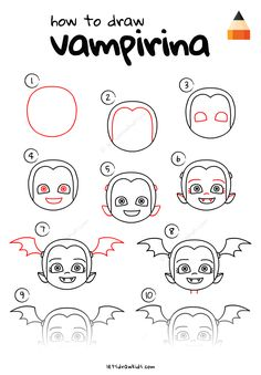 Step by step instruction: how to draw vampirina Outdoor Halloween Parties, Childrens Halloween Party, Halloween Party Games, Halloween Kids, Birthday Party Centerpieces, 4th Birthday Parties, Girl Birthday, Drawing For Kids, Easy Drawings For Kids