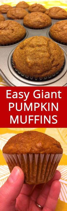 Pumpkin Muffins Recipe – Makes Giant And Moist Muffins! These pumpkin muffins are truly huge and moist, and the texture is best ever! I love these muffins! Best Pumpkin Muffins, Pumpkin Muffin Recipes, Vegan Pumpkin, Pumpkin Loaf, Weight Watcher Desserts, Homemade Muffins, Low Carb Dessert, Pumpkin Dessert, Fudge