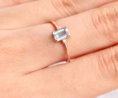 Emerald Cut aquamarine ring in solid 18k rose gold, Diamond Engagement Ring, Alternative Engagement Ring by KabellaCustomJewelry on Etsy https://www.etsy.com/listing/492487623/emerald-cut-aquamarine-ring-in-solid-18k