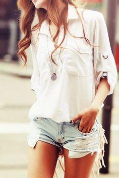 Broken denim shorts and white shirt.