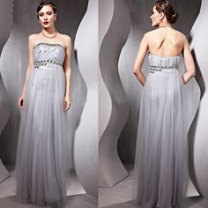 Gray Grey Tulle Strapless Evening Ball Gown Engagement Dresses Women SKU-122492