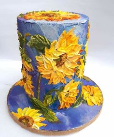 Sunflowers by Claudia Prati - food - Kuchen Cake Decorating Techniques, Cake Decorating Tips, Gorgeous Cakes, Pretty Cakes, Amazing Cakes, Van Gogh, Bolo Floral, Decoration Patisserie, Buttercream Flower Cake