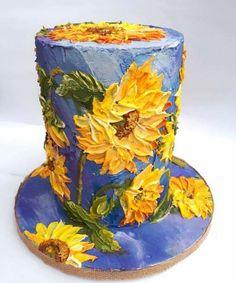 Sunflowers buttercream cake art. Beautiful!