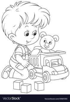 Little Boy With A Toy Truck. Royalty Free Cliparts, Vectors, And Stock Illustration. Bible Coloring Pages, Cute Coloring Pages, Coloring Pages For Kids, Coloring Books, Kids Coloring, Little Boy Drawing, Nursery Stickers, Boy Illustration, Cute Drawings