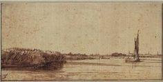 Rembrandt van Rijn Rembrandt van Rijn-A River with a Sailing Boat on Nieuwe Meer
