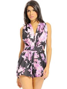 Women Casual Floral Print Backless Bow Knot Cross Straps V-neck Sleeveless?Jumpsuit
