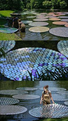 Lilpads: not just for frogs anymore! 65,000 Recycled CDs Form Colorful Floating Waterlilies by http://www.brucemunro.co.uk