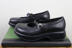 Vintage Dansko Mary Janes | Retro 90s Black Clog Shoes | Size 6 UK 4 Euro 36 - 37