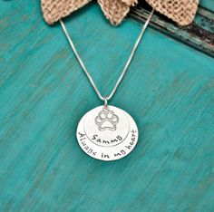 Sterling Silver, Always in my heart pet remembrance necklace    A 1 inch Sterling silver disc is hand stamped with the phrase Always in my
