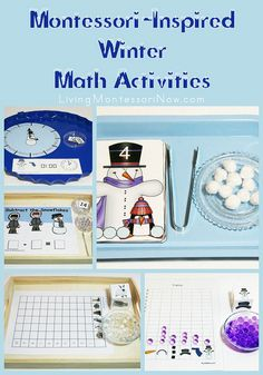Montessori-Inspired Winter Math Activities - my monthly post at PreK + K Sharing with links to LOTS of free printables and ideas for using printables to create Montessori-inspired activities