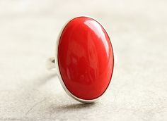 Red Coral ring - Oval ring - Bold ring - Red ring - Bezel ring - Gemstone ring - 925 Sterling silver ring - Gift for her
