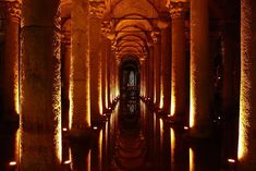 and underground-how cool is that? The Basilica Cistern (Sunken Palace Cistern, Yerebatan Saray Sarnıçı) lies beneath the city of Istanbul, Turkey. Places Around The World, Oh The Places You'll Go, Places To Visit, Around The Worlds, National Geographic Travel, Hagia Sophia, Exotic Places, Amsterdam, We Are The World