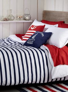 #nautical #bedroom ★★★ blue, white, red - stripes, anchor and boat on the pillow. Dreaming nautical dreams of blue ocean.