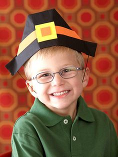 Pilgrim Hat - Every little boy at your Thanksgiving table will want to make and wear this festive pilgrim hat made using a newspaper from the recycling pile.  What You'll Need:  * Newspaper  * Masking tape  * Black paint  * Paintbrush  * Hole punch  * Black elastic cord  * Crafts foam: orange, yellow