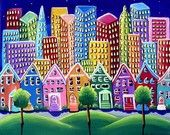 Fall Sailboats Trees Houses Waterfront Canvas Whimsical Colorful Folk Art Painting. $129.99, via Etsy.