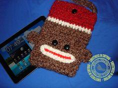 Sock Monkey, Crochet Tablet Cover