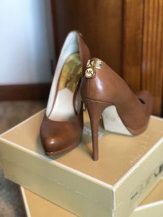 5e6515ac07a Michael Kors Womens Leather Platform Pump Size 8 Tan Heels  fashion   clothing  shoes