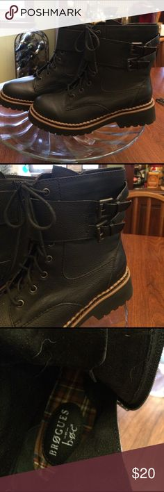 Combat boots (black) with buckle at ankle. Black combat boots with buckle embellishments  lace up inner ankle zip for easy wear. Never been worn. No box or tags Super cute!!!!! brogues Shoes Combat & Moto Boots