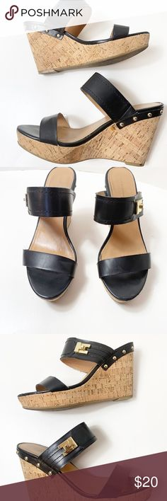 0369cb4a89a833 Timmy Hilfiger wedge black leather sandals EUC (excellent used condition)  Tommy Hilfiger wedge cork