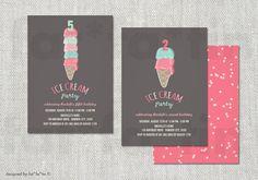 Summer Ice Cream PRINTABLE Birthday Party Invite | Custom Cute Whimsical Strawberry & Mint Girl Boy Kids Invitation PRINTED CARD / jpg / pdf...