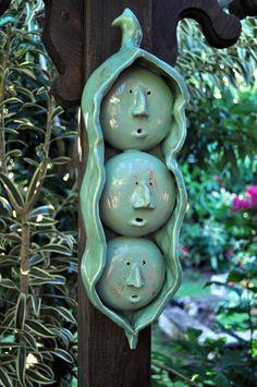 Three Peas in a Pod Ceramic Sculpture-great idea for a garden marker (smaller of course)