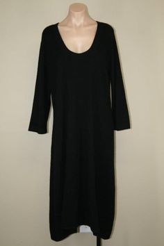 Neiman Marcus 100% Cashmere 3/4 Sleeve A-line Shift Long Tea Midi Dress sz 2X #NeimanMarcus #Shift