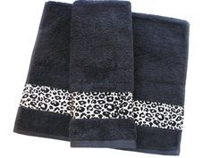 You Pick Size leopard Custom Towels black bathroom by AugustAve