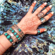 ॐ Peace, Turquoise, Mantra & Henna ॐ Check out our website for more at www.ohmboho.com ☮ #ohmboho #jewellery #jewelry #bracelet #cuff #ring #tibetan #silver #turquoise #peace #mantra #ommanipadmehum #om #ohm #aum #ganesh #hindu #religion #henna