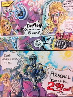 Poster Board sign (white) Roseart Markers, Sharpies, and pencil  Personal Pizzas comic sign