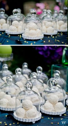 Give your guest favors that extra pop by encasing them within our Miniature Glass Bell Jars with White Fluted Bases: http://www.weddingstar.com/product/miniature-glass-bell-jar-with-white-fluted-base