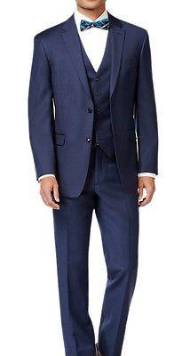 NEW Mens Tommy Hilfiger New Blue Vested Trim Fit Wool Suit 48L 48 L