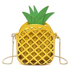 New Trending Cross Body Bags: MILATA Fruit Pineapple Shaped Women Pu Leather Clutch Purse Cross Body Bag (yellow). MILATA Fruit Pineapple Shaped Women Pu Leather Clutch Purse Cross Body Bag (yellow)   Special Offer: $19.68      300 Reviews Feature: Material: PU leather  Polyester lining Type: clutch, shoulder bag, Closure: zipper Size: 6.3 H X 5.5 W X 2.8 D Capacity: mobile phone, mini...