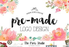 Premade Logo Design Leafy Floral Frame Logo Design Pay As You Go Vintage Organic Logo