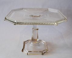 """""""Pleat and Panel"""" pressed glass cake stand, circa 1890"""