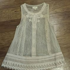 Anthropologie lace tank Beautiful sheer lace tank. Great for layering under tops or wearing a camo underneath. Anthropologie Tops
