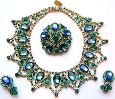 Huge Green Juliana (Delizza & Elster) Watermelon Rhinestone  Necklace--Earrings & Brooch