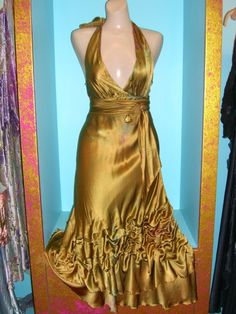 Gold Silk rusched halter dress with sash custom made by momosoho