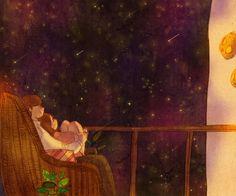 별똥별 (Shooting stars) by 퍼엉 on Grafolio Love Cartoon Couple, Cute Couple Comics, Cute Couple Art, Couple Illustration, Illustration Art, Puuung Love Is, Mature Love, Couple Drawings, Love Images