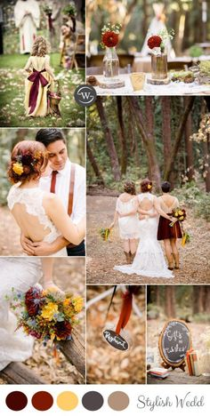burgundy and yellow rustic fall wedding ideas