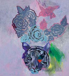 "Miranda Skoczek - ""Tigress with Headdress"" Multiple Images, Project 3, Headdress, Artsy Fartsy, Art Inspo, Contemporary Art, Stencils, Palette, Watercolor"