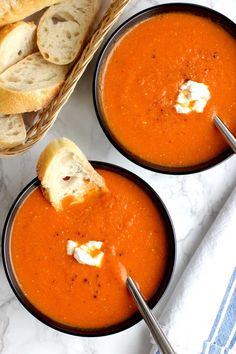 This tomato soup with goat cheese is an easy to make soup that uses just a few ingredients and is full of bright and tangy flavor.